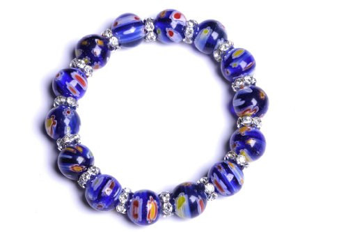 Lilly Rocket Murano Glass Bracelet With Rhinestone Spacers - Blue