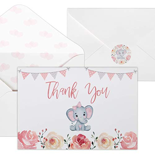 Baby Shower Thank You Cards for Girls. 50 Pack Pink Watercolor Elephant Baby Girl Cards. Cute Thank You Notes with Envelopes & Stickers.]()
