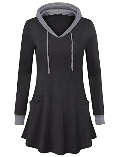VALOLIA Tunic Hoodie for Women, Casual Color Block Long Sleeve Pullover Sweatshirt Black X-Large