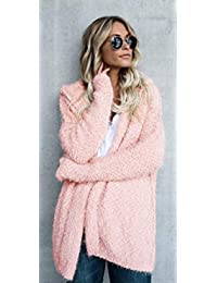 Abrigo largo con capucha para mujer, con bolsillos de otoño, parte frontal abierta, de punto