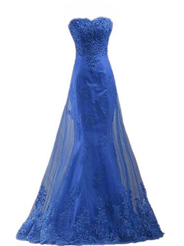 JAEDEN Reale cuore da Donne Forma Sirena promenade da Abito sera Blu del Abito Abito Pizzo da Lungo partito rTrw4qSn
