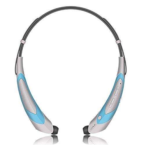 Bluetooth Headphones Earphones Microphone Silver Blue