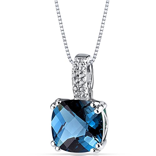 14K White Gold London Blue Topaz Pendant Cushion Checkerboard Cut 3.50 Carats ()