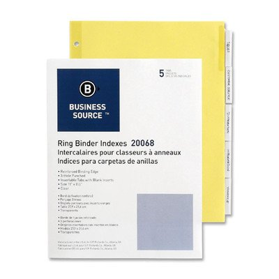 Binder Indexes,Five 2'' Tabs,5/ST,Buff/Clear [Set of 10]