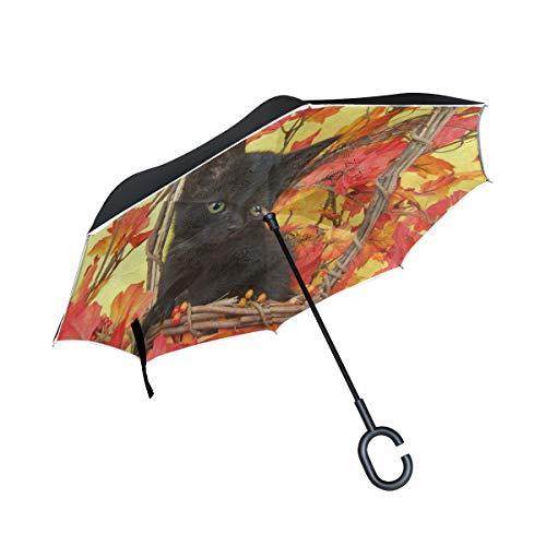 All agree Reverse Umbrella Fuzzy Black Kitten Pumpkin Basket Maple Leaf Inverted Umbrella Reversible for Golf Car Travel Rain Outdoor -