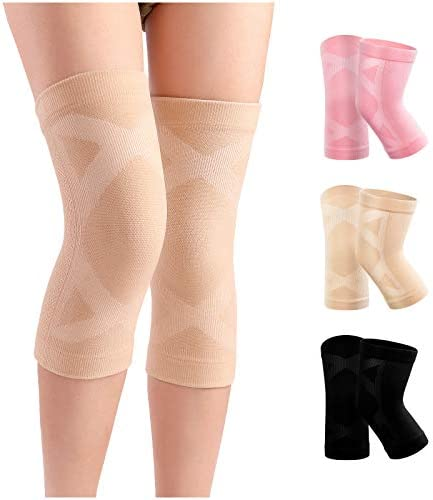 A Pair of Knee Braces Compression Knee Sleeves for Knee Pain, Leg Support for Women and Men, Arthritis Pain Meniscus Tear, Runners Running Working Out Weightlifting Lifting, Medium Size Natural