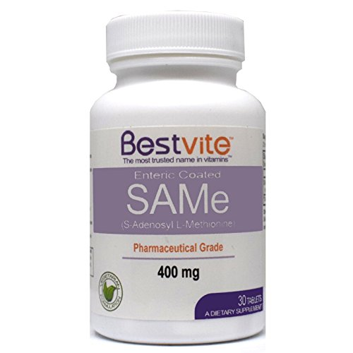 SAMe 400mg (30 Tablets) Premium Ingredient from Italy containing more than 75% (SS) SAM-e, the highest active level available