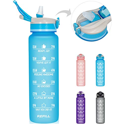 🥇 32 oz/1L Motivational Water Bottle with Time Marker & Straw – BPA Free & Leakproof Tritian Frosted Portable Reusable Fitness Sports Water Bottle for Student Women Men Kids to Gym Office School Workout