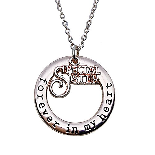 Special Sisters Forever in My Heart Pendant Necklace Christmas New Year Gift for Women Girls (Rose Gold)