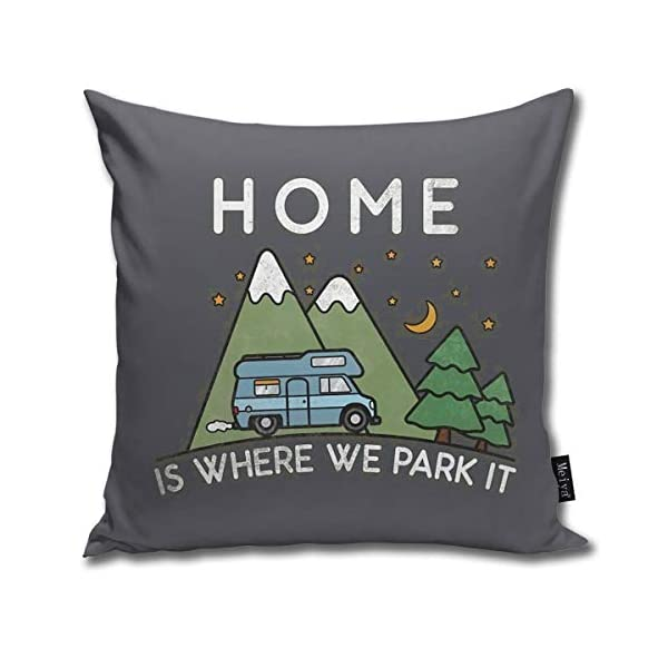 41sgitvTUNL QMS CONTRACTING LIMITED Throw Pillow Cover Camping Home is Where We Park It Campervan Gift Decorative Pillow Case Home…