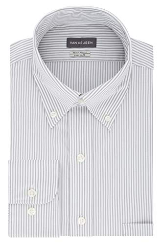 Van Heusen Men's Pinpoint Regular Fit Stripe Button Down Collar Dress Shirt, iced Grey, 16