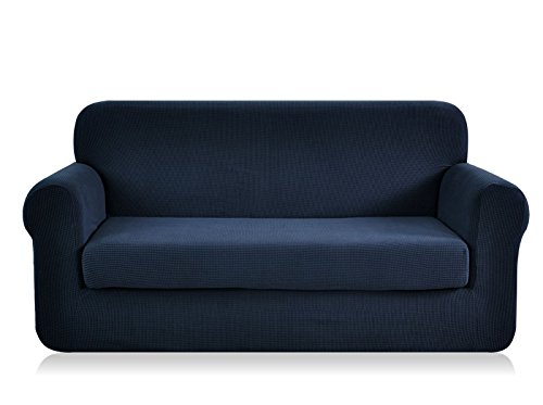 Chun Yi Jacquard Sofa Covers 2 Piece Stretch Polyester Spandex Fabric Couch Slipcover 3 Seater Sofa Protector Sofa Dark Blue