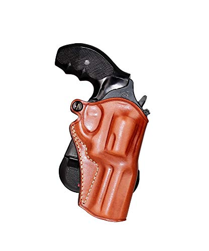 Premium Leather OWB Paddle Holster Open Top Fits S&W Model 60 357 Magnum 3''BBL, Right Hand Draw, Brown Color #1176#