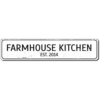 Farmhouse Kitchen Sign, Personalized Established Date Sign, Custom Kitchen  Chef Sign, Country Kitchen