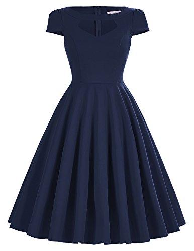 Bella Blue Dresses (Belle Poque Retro Dress Cute Pin Up Vintage Dress 1950s Retro Dress Navy S)