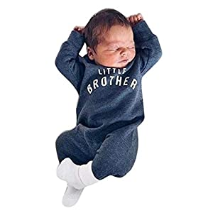 Boys Clothes, SHOBDW Newborn Infant Boy Girl Button Romper Baby Long Sleeve Letter Little Brother Jumpsuit Pattern…