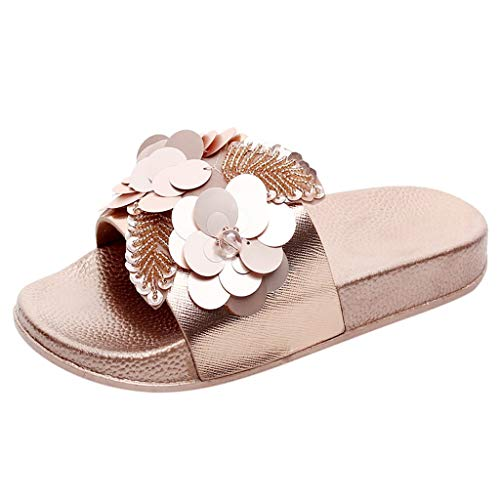 TIFENNY Fashion Flower Slippers for Womens Flat Slides Sandals Diamante Sparkly Sliders Sequin Flower Shoes Gold