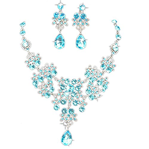 Necklace Makalon Prom Wedding Bridal Jewelry Crystal Rhinestone Necklace Earring Sets (Light Blue)
