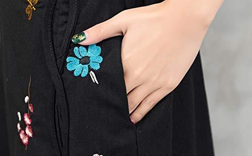 Broderie et Noir Poche Line Jupes Femmes Coton avec Jupes A W4gq04YPwf