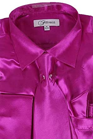 Classy Men's Satin Shiny Hot Pink Shirt Set   Matching Tie and ...