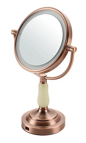 Lansi LS-T1504 Tabletop Double-Sided 360 Degree Swivel Design Makeup Mirror with 1x/3x magnification with LED light, Polished Chrome Finish (Ls Bed Modern)