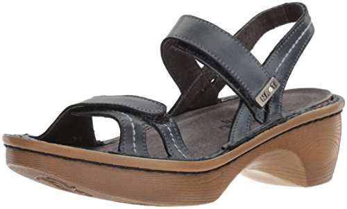 Ash Leather Bed - NAOT Women's Brussels Wedge Sandal, Vintage Ash Lthr Wood Sole, 38 Medium EU (7 US)