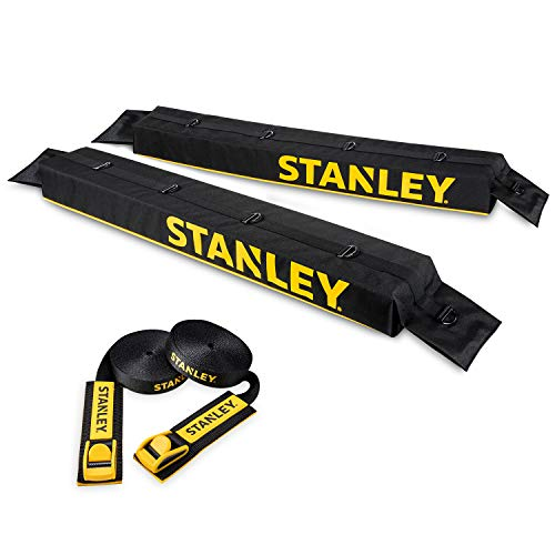 Stanley Universal Car Roof Rack Pad & Luggage Carrier System – Includes 2 Heavy Duty Tie Down Straps – Anti Vibration Great for Transporting Kayak SUP Surfboard Lumber & Other Long Items