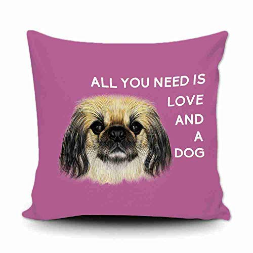 Pekingese Pillow - Freedom45457 All You Need is Love and A Dog Pekingese Pillow Covers Decorative 18x18 Farmhouse Decor Couch Cushion Covers for Birthday, Pink
