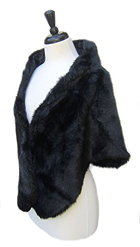 - SACASUSA TM Long Beautiful shape Faux Fur Shawl Stole Cape in Black