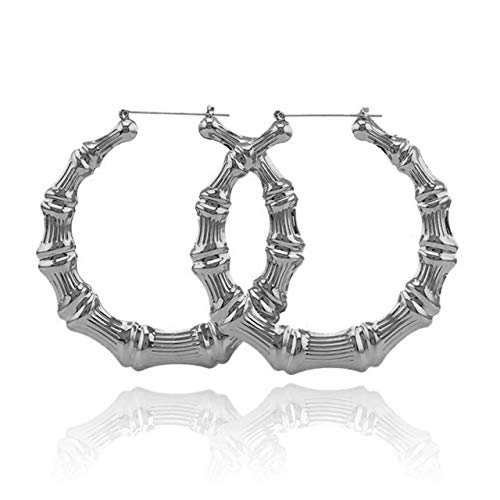 Zealmer Punk Bamboo Big Circle Hoop Earrings for Women Silver ()
