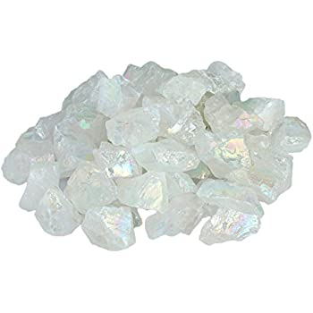 SUNYIK Angel Aura Quartz Titanium Coated Natural Crystal Rough Stone Irregular Shaped Loose Beads 1pound(about 460 gram)
