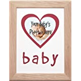 """BabyRice Handmade 12x9"""" Solid Oak Baby's 1st Photo Frame Cream Mount with Red Heart Picture Space + FREE Inkless Wipe Kit to take Baby's Hand & Footprints!"""