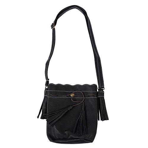 TOOGOO(R) Borsa delle donne sacchetto della benna di modo della nappa Borsa delle donne del sacchetto del messaggero del sacchetto di spalla delle donne di cerimonia nuziale della rappezzatura nero