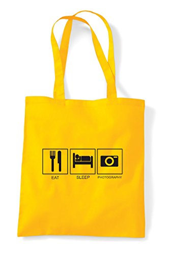 Bag Tote Shopper Funny Sleep Tiles Hobby Photography Activity Yellow Eat TZ6wq0n