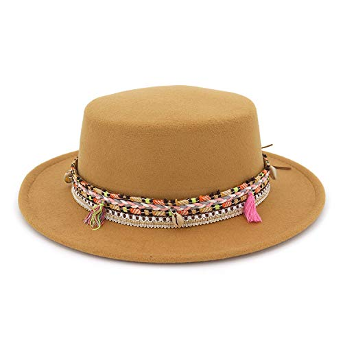 Autumn Spring Summer Mens Hats Fedoras Vintage Women Girls Felt Fedoras Flat Top Jazz Hat Church Hats Camel