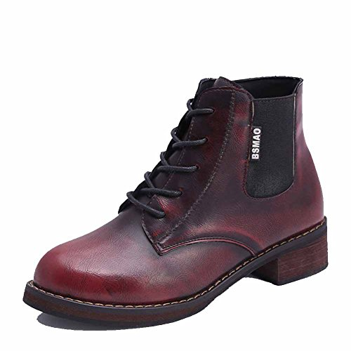 AllhqFashion Womens Low Heels Assorted Color Zipper Soft Material Round Closed Toe Boots, Claret, 34