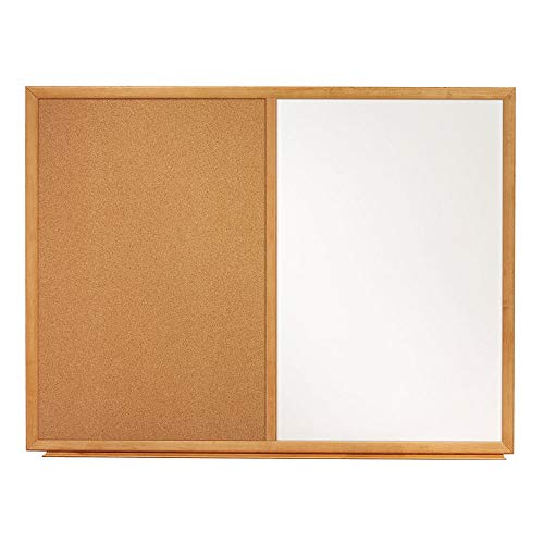Quartet Combination Whiteboard & Corkboard, 3' x 2' Combo White Board & Cork Board, Oak Finish Frame (S553)