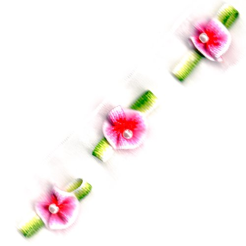Venus Ribbon 5/8-Inch Rosebud Organza Trim, White/Pink, 5-Yard