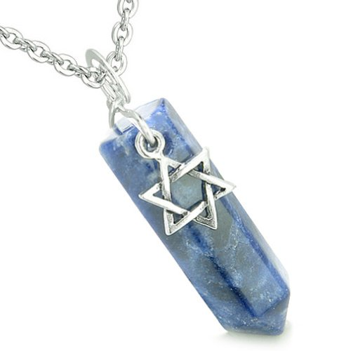 - King of Solomon Star of David Crystal Point Magic Charm Sodalite Pendant 18 Inch Necklace