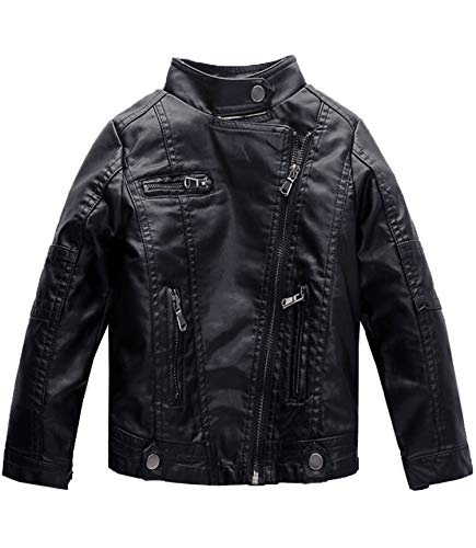 Spring&Gege Boys' Classic Stand Collar Faux Leather Jacket Children's Motorcycle Zipper Outerwear Coat, Black, 2-3 Years