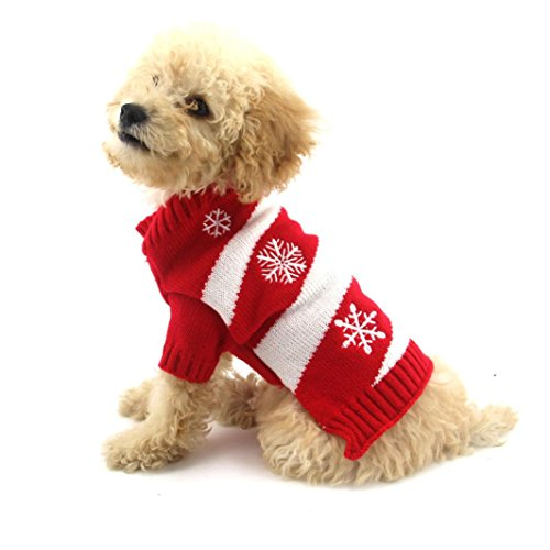 Sunward Fashion Snowflake Printed Christmas New Year Pet Puppy Dog Doggy Cat Santa Warm Plush Coat Clothes Costume Puppy Apparel (L) (Plush Puppies Santa)
