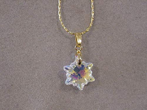 becaeca793247 Amazon.com: Gold Crystal Snowflake Necklace with Swarovski Edelweiss ...