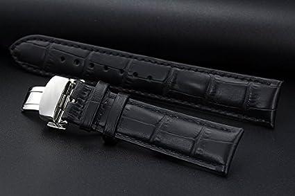 19mm Remplacement Noir Bracelets de Montres en CuirBandes Crocodile gaufré déploiement rembourré Push Double Boucle