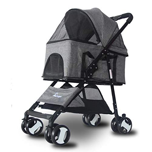 Pet Stroller Foldable, Big Space Lightweight Pet Travel Stroller, 2 Swivel Wheels Multifunction Pushchair Pram Jogger for Puppy Cat Pets, Gray,Gray