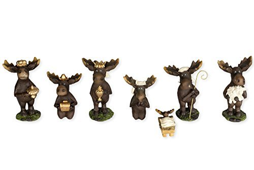 7 Piece Moose Figurines Christmas Nativity Set