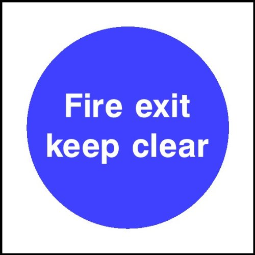 Uk 100mmx100mm fire exit keep clear sign self adhesive sticker vat invoice supplied amazon co uk kitchen home
