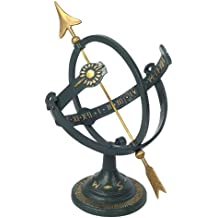 Rome 1339 Cast Iron Armillary Sundial, Iron with Brass Arrow, 17-Inch Height by 11-Inch Wide Diameter