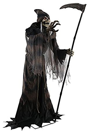 lunging reaper animated halloween prop poseable 6 feet haunted house decoration by seasonal visions - Reaper Halloween
