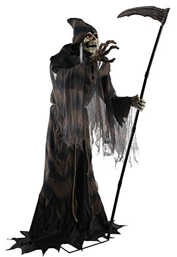 Lunging Reaper Animated Halloween Prop Poseable 6 Feet Haunted House Decoration by Seasonal Visions ()