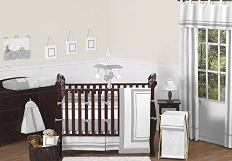 White and Gray Hotel Collection Crib Bumper by Sweet Jojo Designs B019IXRFSY